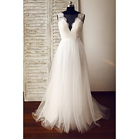 A-line Wedding Dress - Glamorous Dramatic See-Through Wedding Dresses Sweep / Brush Train V-neck Lace / Tulle with Button / Lace thumbnail