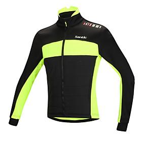 SANTIC Cycling Jacket Men's Bike Jacket Top Winter Cotton Bike Wear Thermal / Warm Windproof Anatomic Design Fleece Lining Reflective 4328124