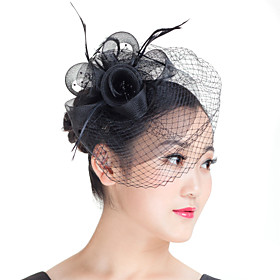 Imitation Pearl Feather Polyester Fascinators Headpiece Elegant Style
