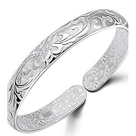 Women's Bracelet Bangles Sterling Silver Flower Ladies Bracelet Jewelry Silver For Daily Casual Sports