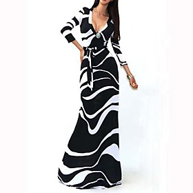 Women's Striped Black Dress , Sexy / Bodycon / Casual / Party V Neck Long Sleeve     LS