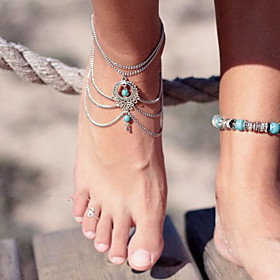 Anklet/Bracelet Turquoise Unique Design Fashion Drop Jewelry Silver Screen Color Women's Jewelry Party Birthday Gift 1pc