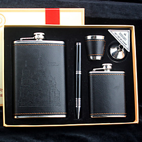 Gift Groomsman 5 Pieces Black Leather Stainless Steel 9-oz Flask 3oz Flask in Gift Box