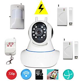 Wannenneigung-IP-Kamera wifi ptz 720p Megapixel HD tf SD-Karte IP-Nocken mit Wireless Einbruchmeldedetektor zur Sicherheit zu Hause