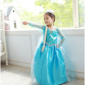 Princess Fairytale Elsa Cosplay Costume Party Costume Kid's Christmas Halloween Children's Day Festival / Holiday Outfits Solid Colored / Chiffon