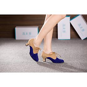 Women's Dance Shoes Latin/Ballroom Belly / Latin / Dance Sneakers / Samba Flocking / Synthetic Cuban / Blue / Silver