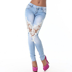 Pantal?e las mujeres Bodycon / Casual - Encaje / Denim