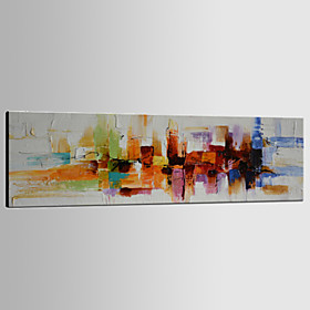 Hand-Painted Abstract Horizontal Panoramic, Classic Modern Traditional Canvas Oil Painting Home Decoration One Panel 3717769