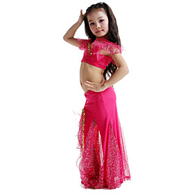 Belly Dance Outfits Children's Performance Milk Fiber Bow(s) 2 Pieces Sleeveless Skirt / TopTop length S:25cm / L:30cm Skirt length 4468391