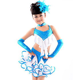 Latin Dance Outfits Children's Performance Cotton Spandex Polyester Ruffles 5 Pieces Gloves Skirt Neckwear TopS:100 M:110 L:120 XL:130