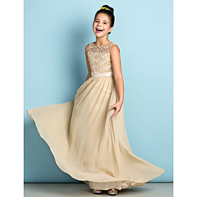 A-Line Scoop Neck Floor Length Chiffon Lace Junior Bridesmaid Dress with Lace by LAN TING BRIDE