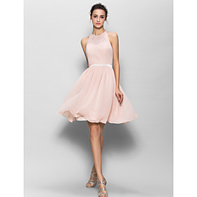 Lanting Bride Knee-length Georgette Bridesmaid Dress - A-line Jewel with