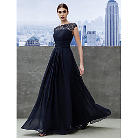 TS Couture Formal Evening / Black Tie Gala Dress A-line Bateau Floor-length Georgette with Draping / Lace