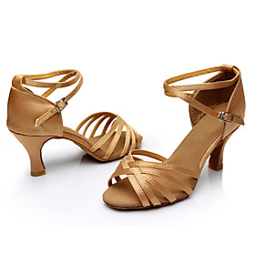 Women's Dance Shoes Silk Latin Shoes / Salsa Shoes Buckle / Ribbon Tie Sandal / Sneaker Customized Heel Customizable Silver / Brown / Gold / Performance / Prac Category:Salsa Shoes,Latin Shoes; Upper Materials:Silk; Embellishment:Ribbon Tie,Buckle; Lining Material:Synthetic; Heel Type:Customized Heel; Actual Heel Height:2.76; Gender:Women's; Range:EU40; Style:Sneaker,Sandal; Heel Height(inch):3 - 4,2 - 3; Outsole Materials:Suede; Occasion:Practice,Performance; Closure Type:Buckle; Customized Shoes:Customizable; Listing Date:12/09/2015; Foot Length:; SizeChart1_ID:2:468; Size chart date source:Provided by Supplier.; Base Categories:Apparel  Accessories,Dance Shoes,Shoes; Popular Country:Netherlands,Spain,United States; Special selected products:hot,COD,StockEuro