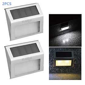 YouOKLight 2PCS 0.2W 2-LED Warm White/ White Light Control Solar Wall Lamp - Silver