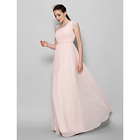 Lanting Bride Floor-length Chiffon Bridesmaid Dress - A-line One Shoulder with Side Draping
