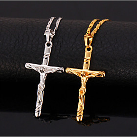 U7Hot Sale 18K Real Gold Platinum Plated Jesus Cro Pendant Necklace Gift for Women
