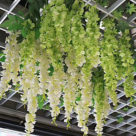 Wisteria Flowers Hanging Basket Polyester Plants Artificial Flowers Vine