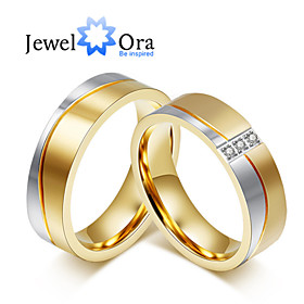 Image of New Noble Fashion CZ Stone Titanium Steel Wedding Gold Ring Couples Ring For WomenMan