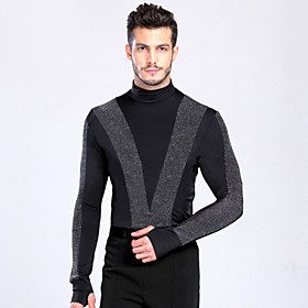 Latin Dance Tops Men's Performance Training Spandex Buttons 1 Piece Long Sleeve Top M :61  L :64   XL :66 4422788
