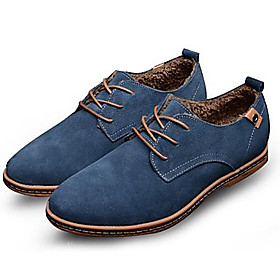 Men's Leather Shoes Suede Spring / Fall Comfort Oxfords Slip Resistant Black / Brown / Blue / Party  Evening / Suede Shoes / Novelty Shoes