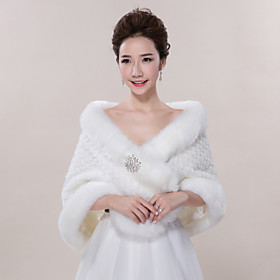 Wedding  Wraps / Fur Wraps Shawls Sleeveless Faux Fur Ivory Wedding / Party/Evening / Casual