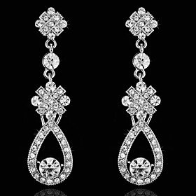 Vintage Women's Earrings Diamond Silver Earring For Wedding Bridal