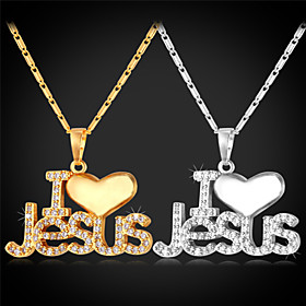 Vogue Exquisite Luxury I LOVE JESUS Zircon Pendant Necklace 18K Gold Platinu..