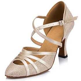 Customizable Women's Dance Shoes Sparkling Glitter Sparkling Glitter Latin / Ballroom Heels Stiletto Heel Indoor Black / Ivory / Silver