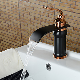 Bathroom Sink Faucet Waterfall Oil rubbed Bronze Widespread Single Handle One HoleBath Taps / Brass