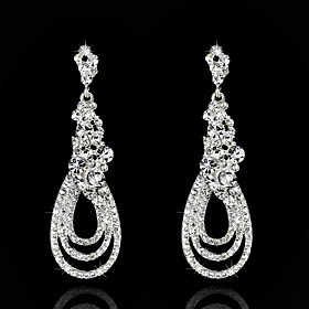 Vintage Women's Earrings Zircon Diamond Silver Earring For Wedding Bridal plus size,  plus size fashion plus size appare