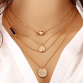 Women's Layered Necklaces Round Heart Gold Plated Adjustable Sideways Heart Multi Layer Fashion Gold Jewelry ForThank You Gift Daily Office  Career 4542117