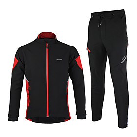 Arsuxeo Cycling Jacket with Pants Men's Long Sleeves Bike Jacket Clothing Suits Thermal / Warm Windproof Anatomic Design Waterproof 4515893