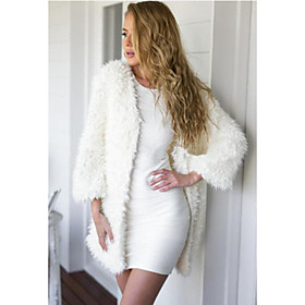 Women's Solid White Coat , Simple / Street chic Long Sleeve Faux Fur / Polyester