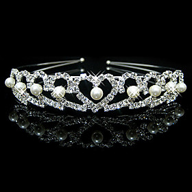Women's Cute Party Imitation Pearl Cubic Zirconia Silver Plated Alloy Headband - Solid Colored 4840893