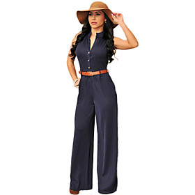 Women's Jumpsuit - Solid High Rise Deep V 4858589