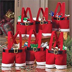 Hot Sale Fashion Christmas Santa Pants Elf Spirit Candy Bags Xmas Decoration Sack Cute Child Gift Soft Cloth Red