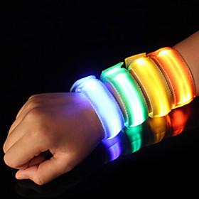 LED Running Armband Reflective Band Safety High Visibility Nylon for Camping/Hiking/Caving Cycling/Bike Running - Orange Pink Green