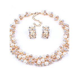 Women's New Hot European Style Fashion Imitation Pearl Bridal Choker Necklace Earrings Set