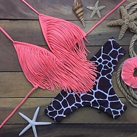 Women's Sell Well Tassels Leopard Halter Bikinis , Floral Push-up Red / Black