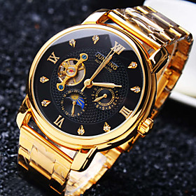 Men's Business Mechanical Watch Automatic Self Winding Round Diamond Dial Mineral Glass Mirror Stainless Steel Band Fashion Waterproof Wrist Watch