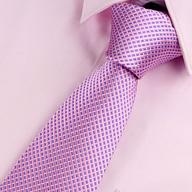 Men's Party / Work / Basic Polyester Necktie - Solid Colored / Pink 4825933