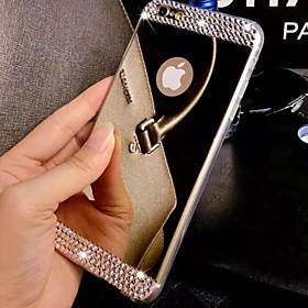 Case For Apple iPhone 8 iPhone 8 Plus iPhone 6 iPhone 6 Plus iPhone 7 Plus iPhone 7 Rhinestone Plating Mirror Back Cover Solid Color Hard