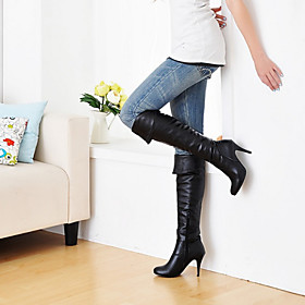 Women's Shoes Leatherette Stiletto  / Round Toe Boots Outdoor / Office  Career / Casual Black / Blue / Brown / White