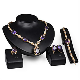 Women's Synthetic Amethyst Jewelry Set Rhinestone Ladies Include Purple For Wedding Party Special Occasion Anniversary Birthday Engagement / Rings / Gift / Dai