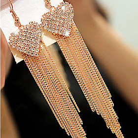 Women's Synthetic Diamond Tassel Long Earrings - Cubic Zirconia, Imitation Diamond Heart, Love Luxury, Tassel, Vintage Golden For Daily