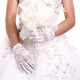 White/Black Wrist Length Fingertips Glove Lace Bridal Gloves Ladies' Party GlovesDIY Pearls and Rhinestones