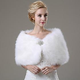 Wedding  Wraps / Fur Wraps Shawls Sleeveless Faux Fur Ivory Wedding / Party/Evening / Casual Rhinestone Clasp