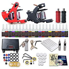beginner tattoo starter kits 2 machines 20 inkt sets