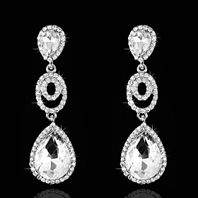 Vintage Women's Earrings Diamond Silver Earring For Wedding Bridal plus size,  plus size fashion plus size appare